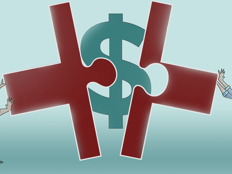 Illustration of two people pushing two puzzle pieces together with a dollar sign in the middle