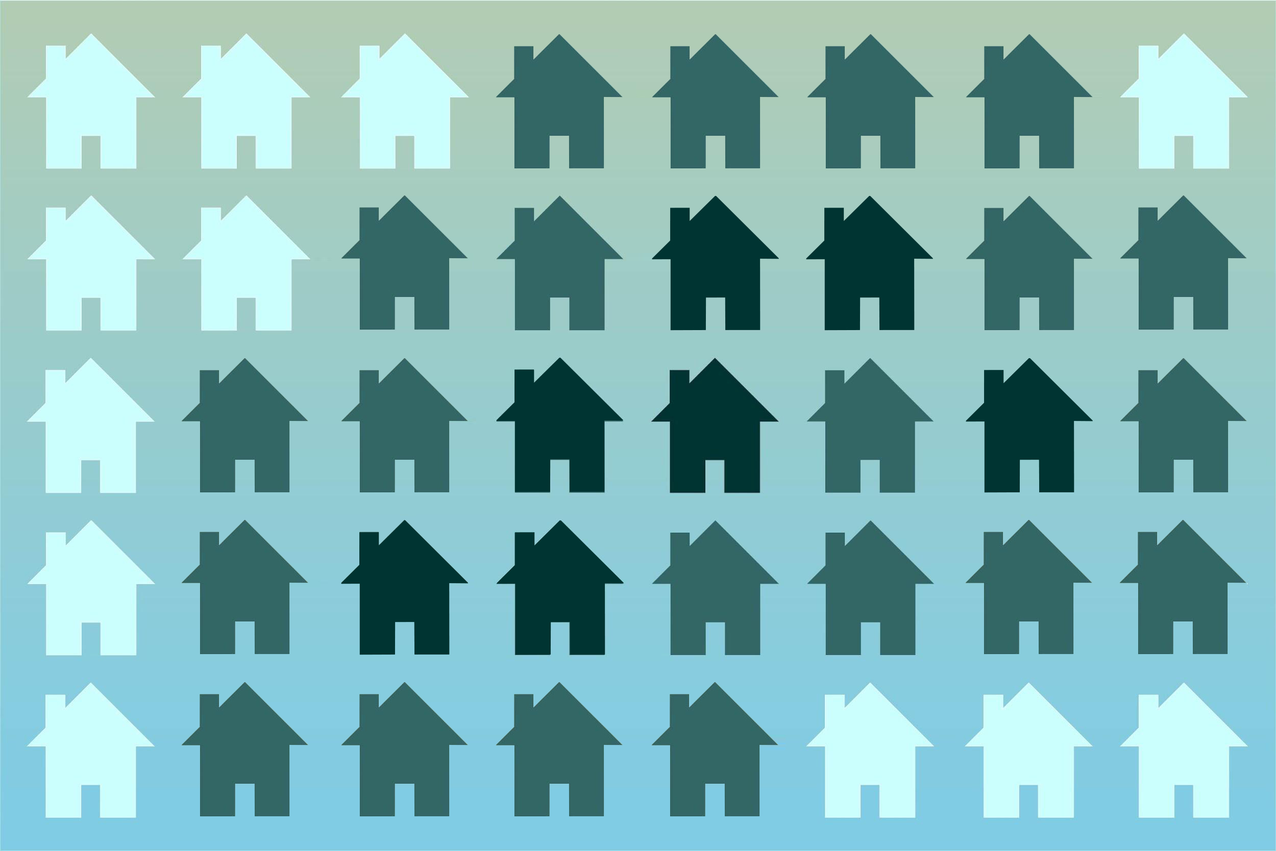 Illustration of foreclosed homes spreading to surrounding homes