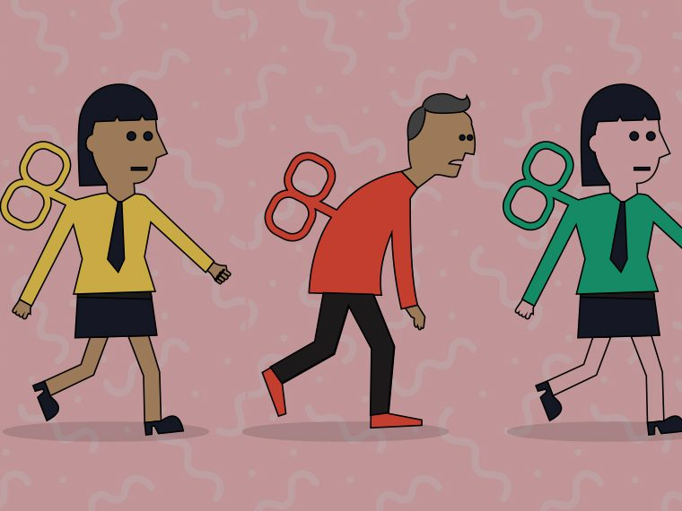 Illustration of people as wind-up toys