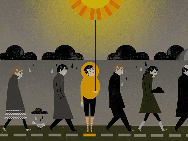 Illustration of a character holding the sun on a string