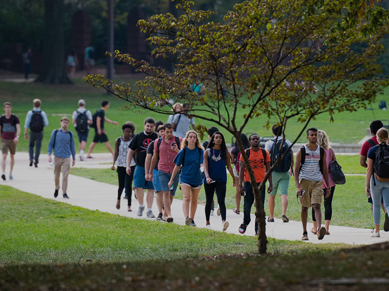 Students walking on a path on campus