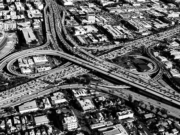 Aerial shot of downtown Los Angeles freeways