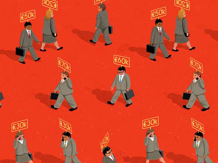 Illustration of salary men