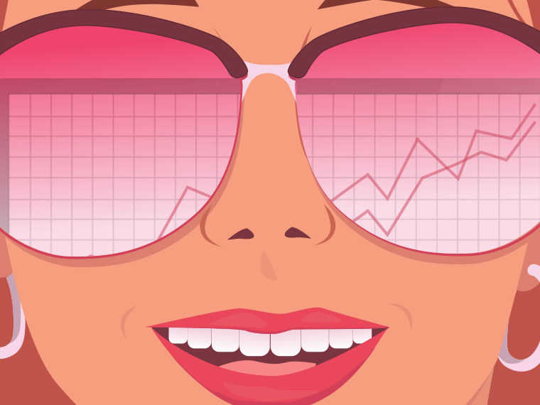 Illustration of a woman with reflection of line chart going up