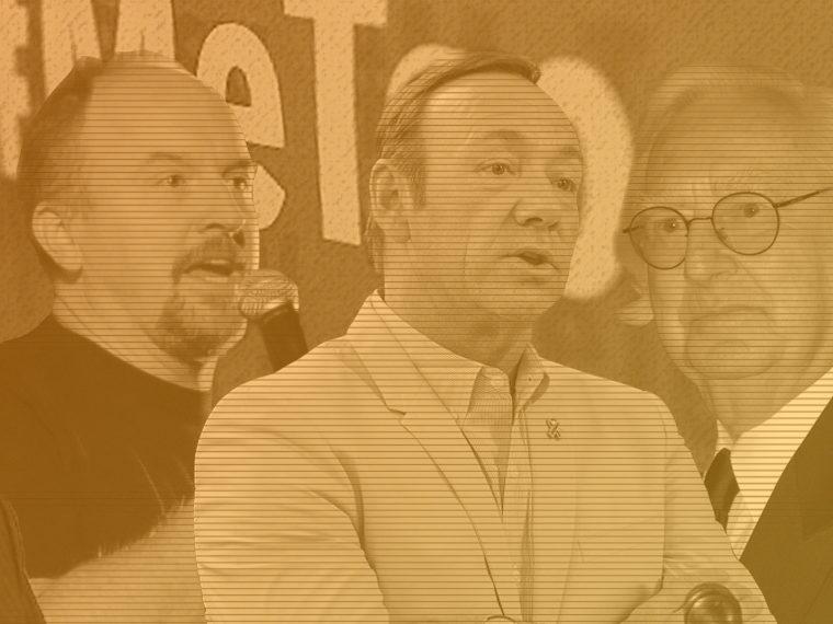 Collage of Matt Lauer, Kevin Spacey, Harvey Weinstein, Louis CK