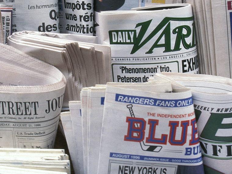 Closeup shot of newspapers