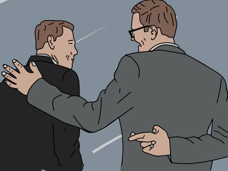 Illustration of two men with one crossing his fingers behind his back
