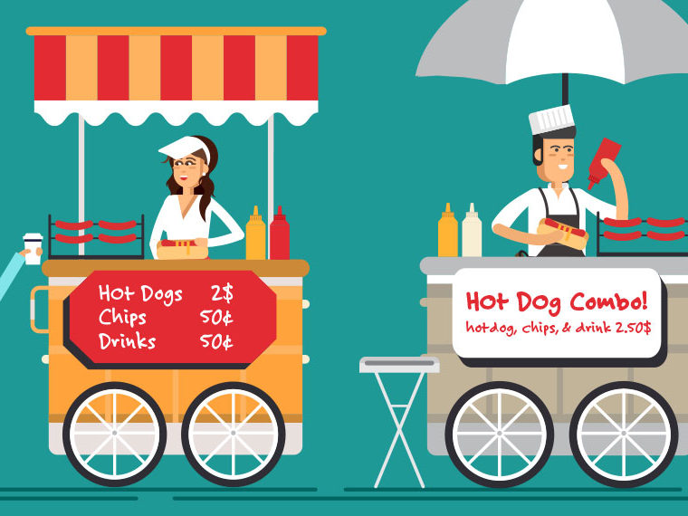 Illustration of two hot dog carts