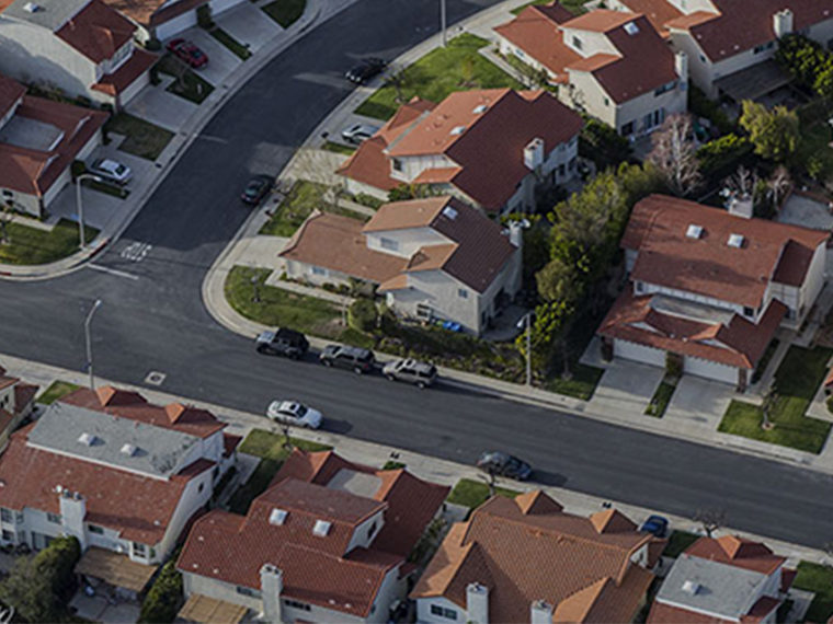 Bird's eye view of a suburb