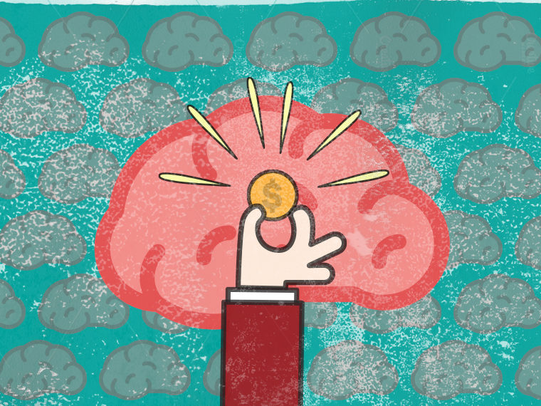 Illustration of a brain and a hand holding up a coin
