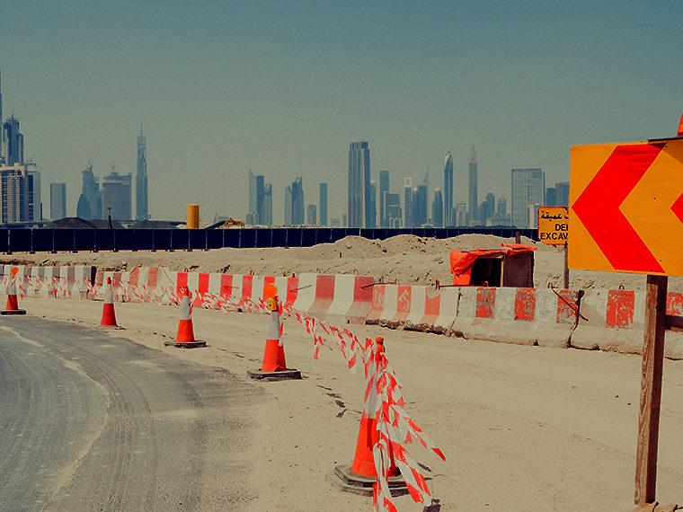 City street under construction in Dubai