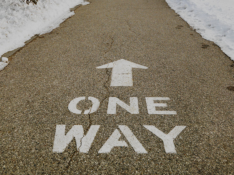 Road marking - One Way with snow