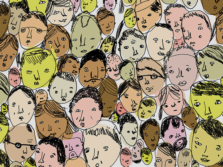 Illustration collage of different faces