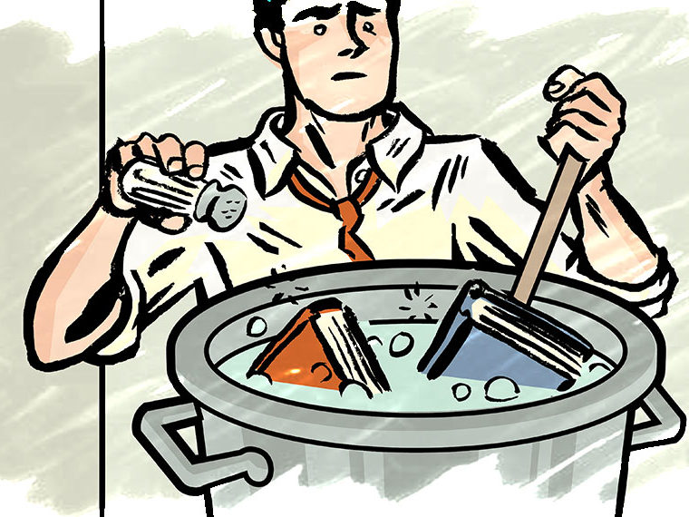 Illustration of a man cooking books in a pot