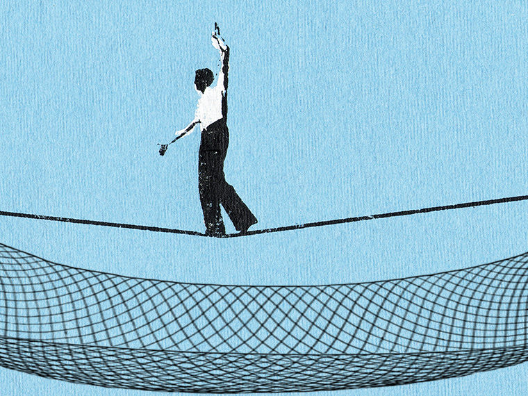 Illustration of a man walking on a tight wire with a net below