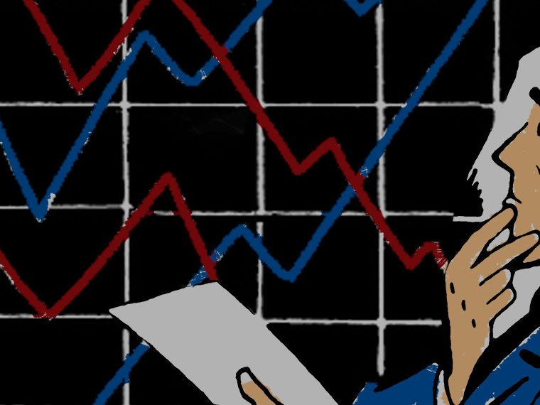 Illustration of a man looking at a stock chart