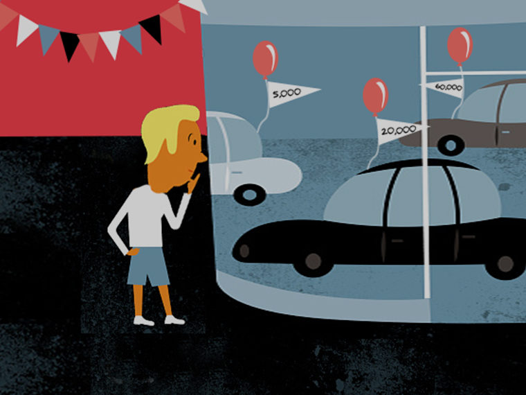 Illustration of a consumer shopping for a car