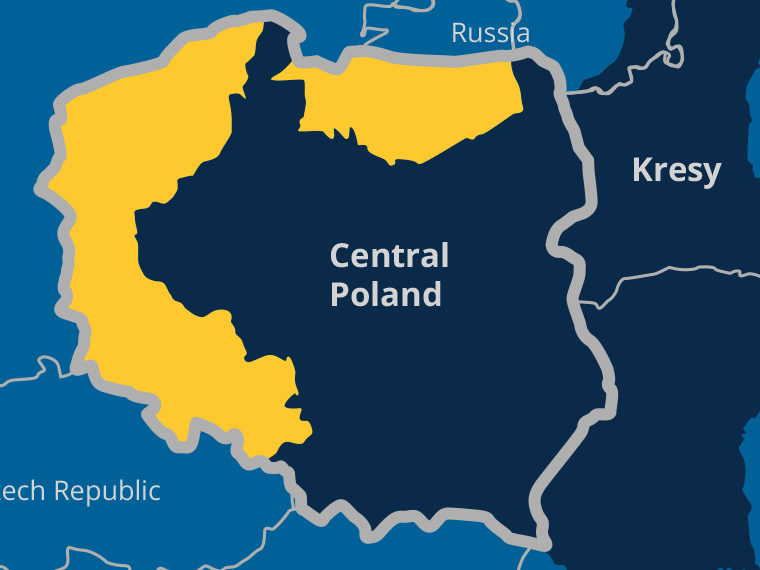 Illustration map of Central Poland and surrounding countries