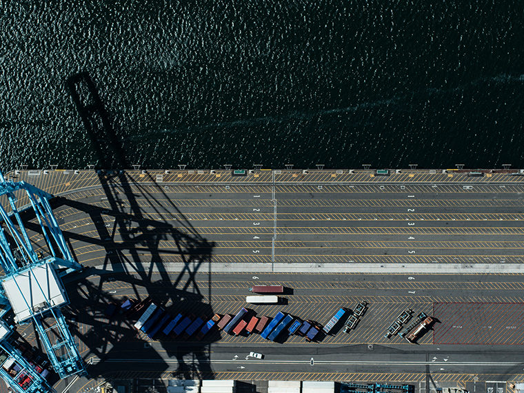 Aerial shot of a port