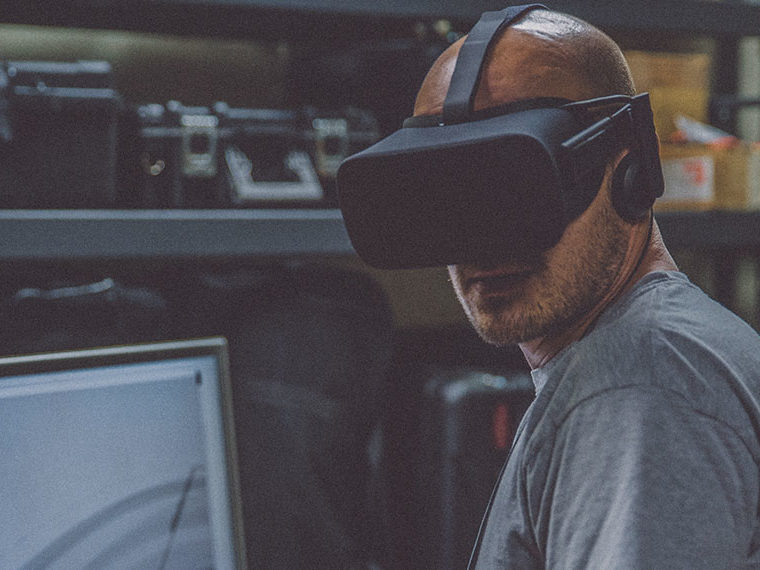 A man using a virtual headset