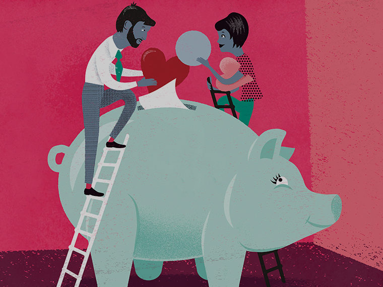 Illustration of a couple depositing money in a large piggy bank