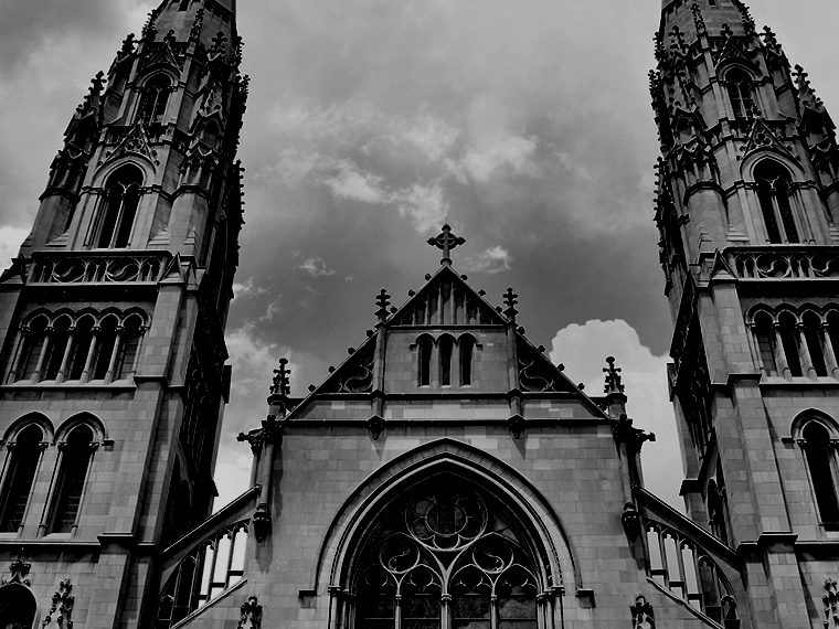 Monochrome image of a church facade