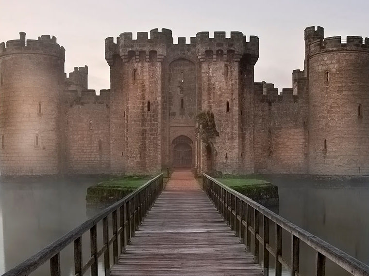 A castle with a moat