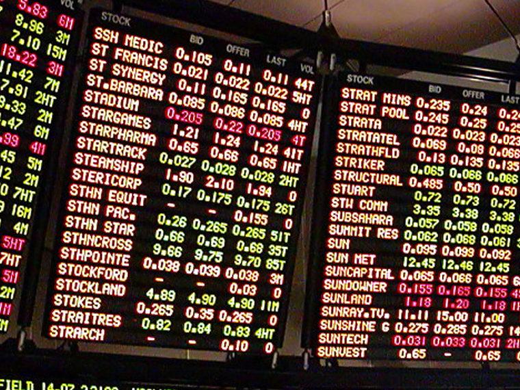 Stock market ticker displays