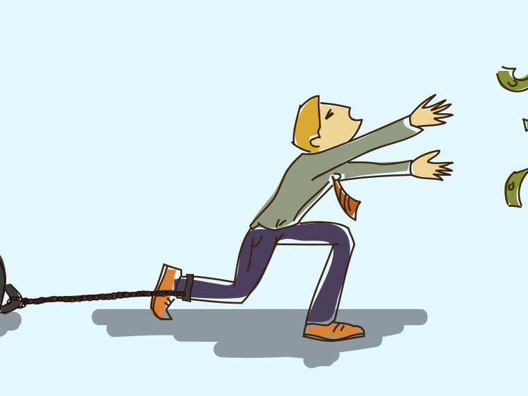 Illustration of a man chasing money floating away while chained to a ball