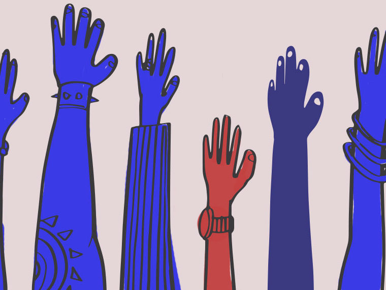 Illustration of hands raised in blue, with one hand colored red