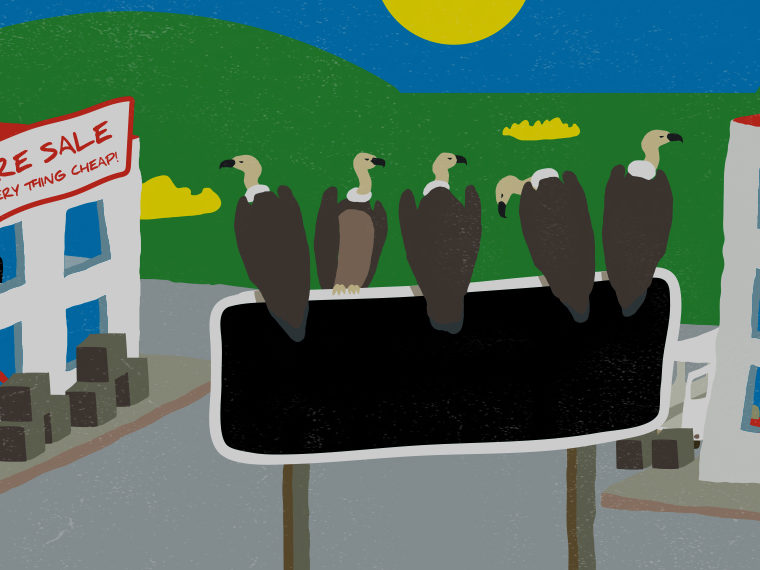 Illustration of vultures sitting on a sign in a city