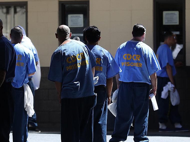 Male prisoners in a prison yard