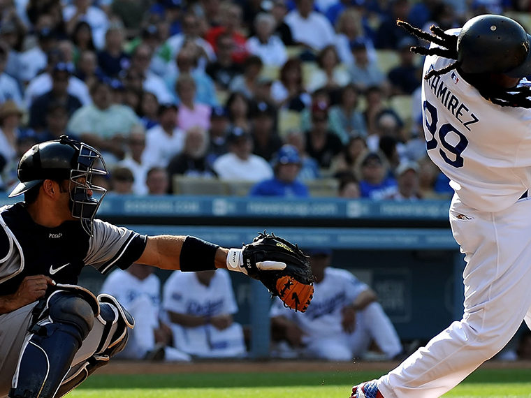LA Dodger Manny Ramirez taking a swing