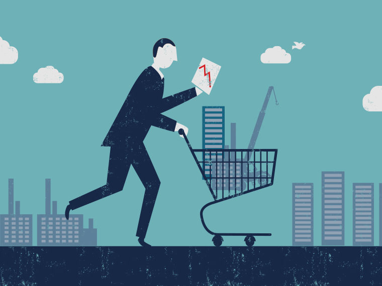 Illustration of a man pushing a shopping cart