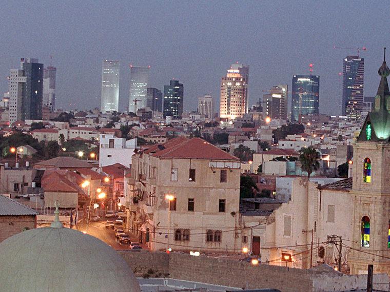 City landscape at dusk