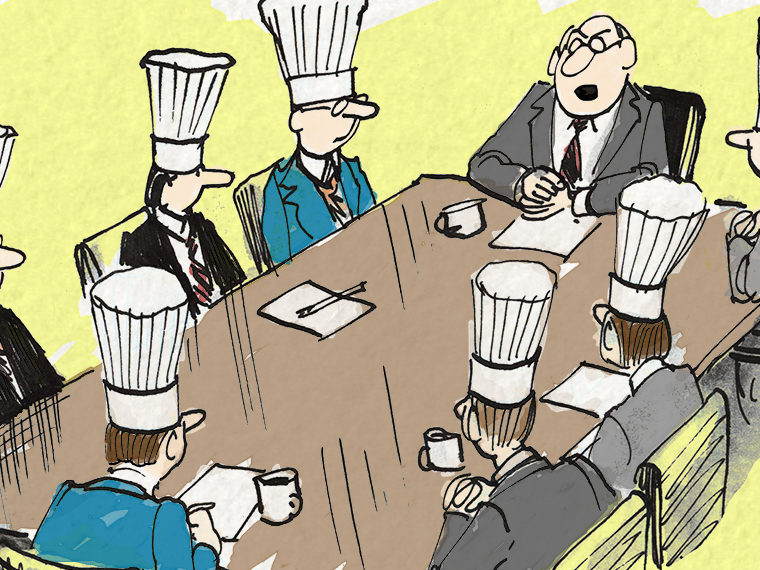 Illustration of a boardroom with members wearing chef hats