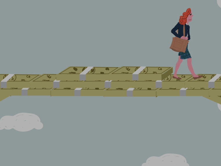 Illustration of a woman crossing a ravine on top of money