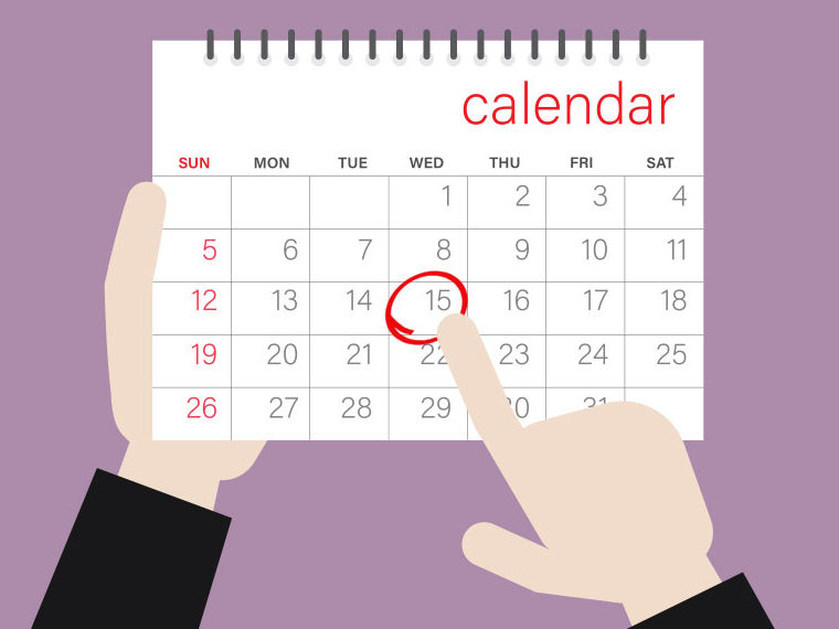 Illustration of a calendar with 15th circled