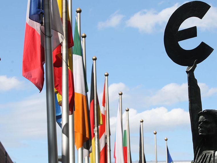 International flags and Euro sign