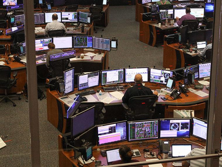 Overlooking stock trading desks