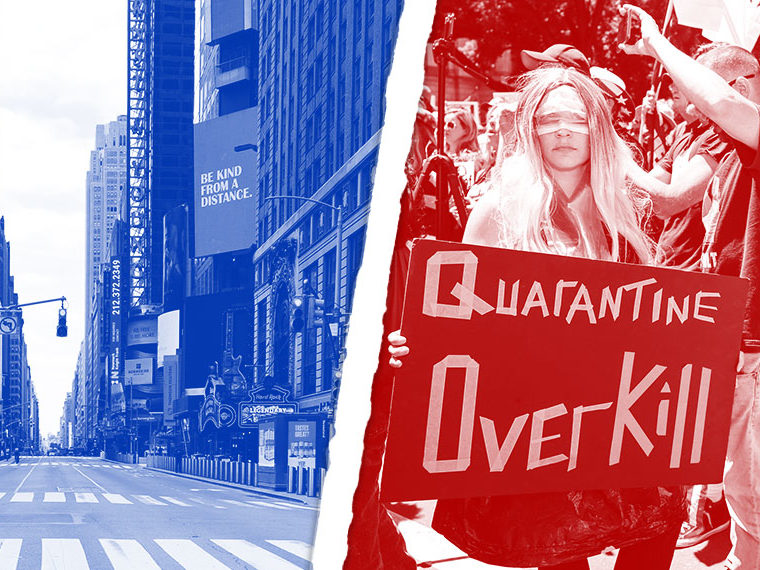 "Empty Times Square in New York in blue (left side); ""Quarantine Overkill"" sign held by a woman at a rally in red (right)"