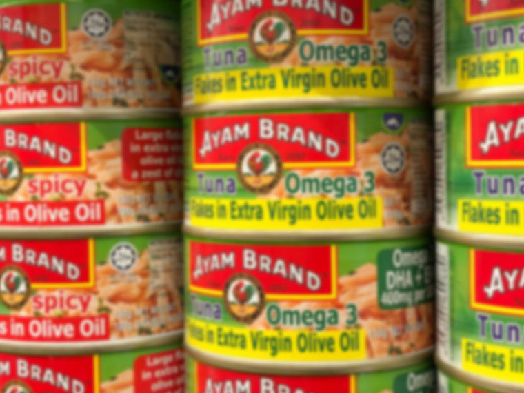 Cans of Ayam Brand tuna