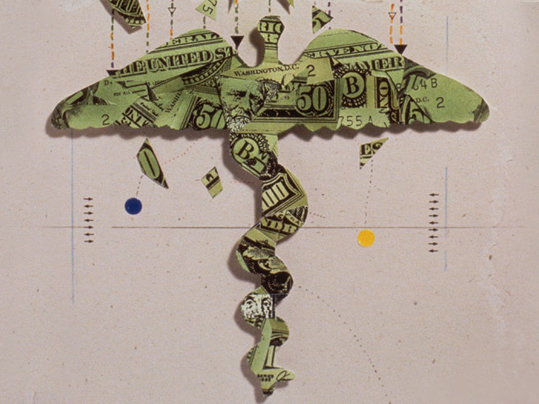 Illustration of dollar bills folded into a Staff of Hermes