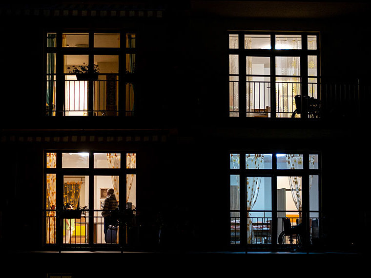 Nursing home at night - looking through multiple windows