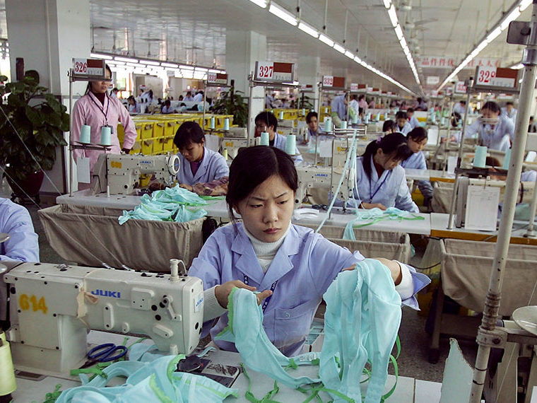 Chinese women working at a garment factory