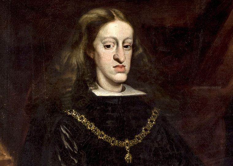 A portrait of King Charles II of Spain. The image depicts the king's Habsburg Jaw.