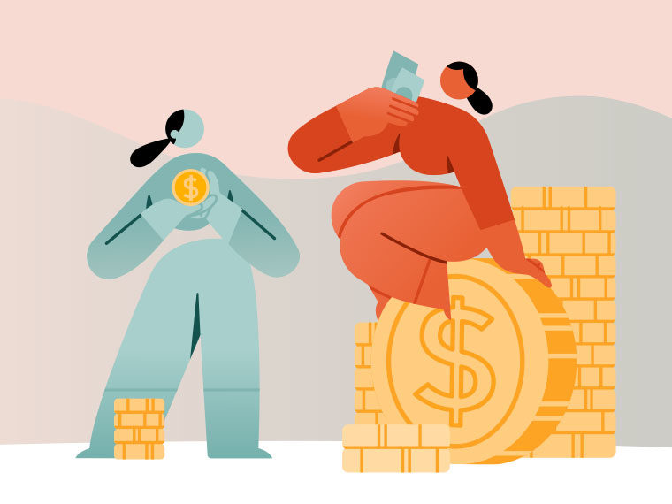 Two cartoon figures. One is sitting on a large pile of gold coins while the other has very few.