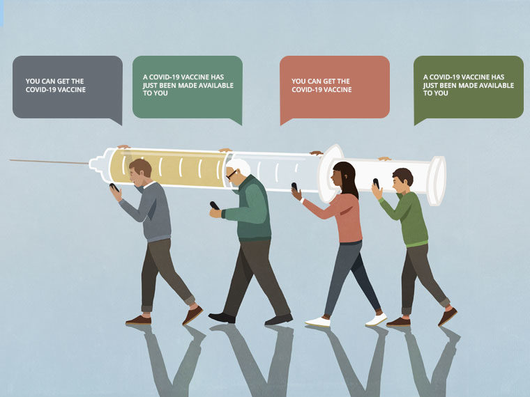 An illustration of four figures carrying a large syringe while reading texts about vaccine availability